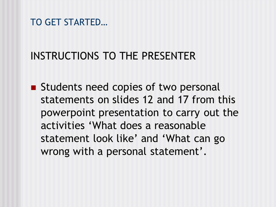 INSTRUCTIONS TO THE PRESENTER