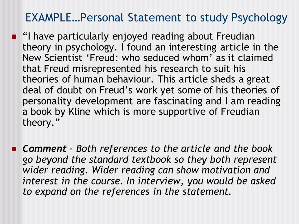 EXAMPLE…Personal Statement to study Psychology