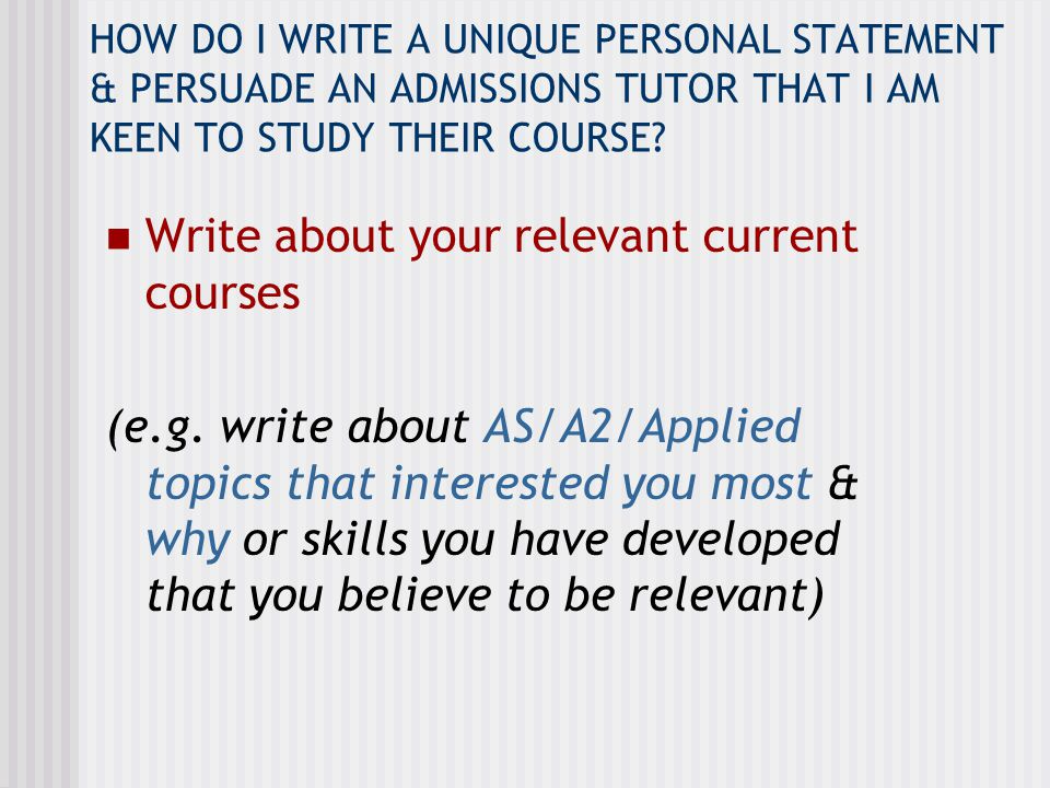 Write about your relevant current courses