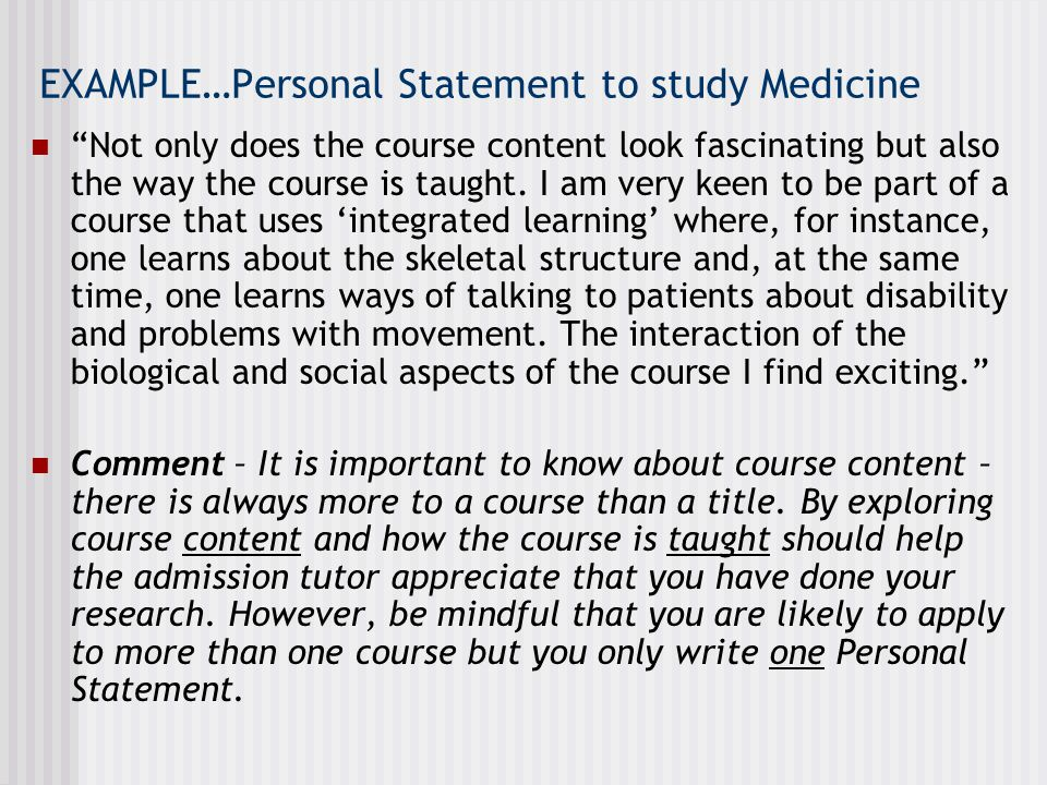 EXAMPLE…Personal Statement to study Medicine