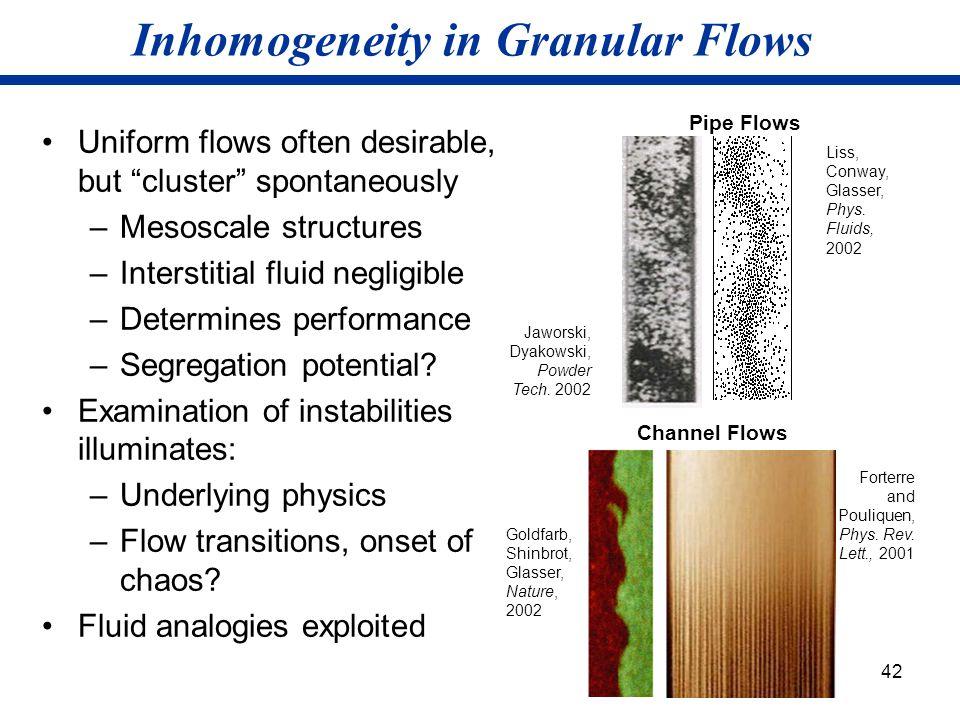 Inhomogeneity in Granular Flows