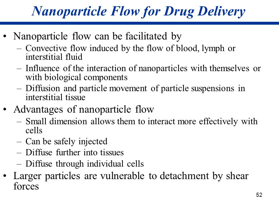 Nanoparticle Flow for Drug Delivery