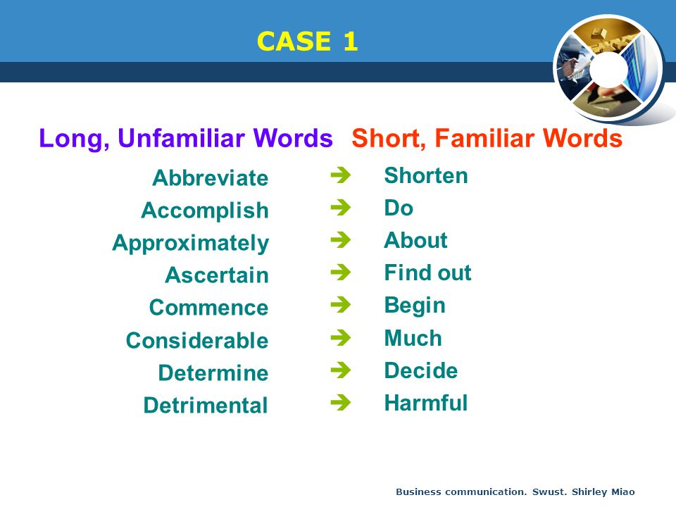 CASE 1 Long, Unfamiliar Words Short, Familiar Words Shorten Abbreviate