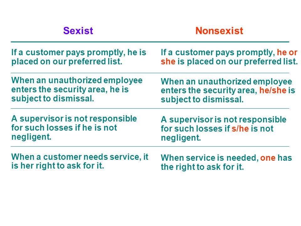 Sexist Nonsexist. If a customer pays promptly, he is placed on our preferred list.