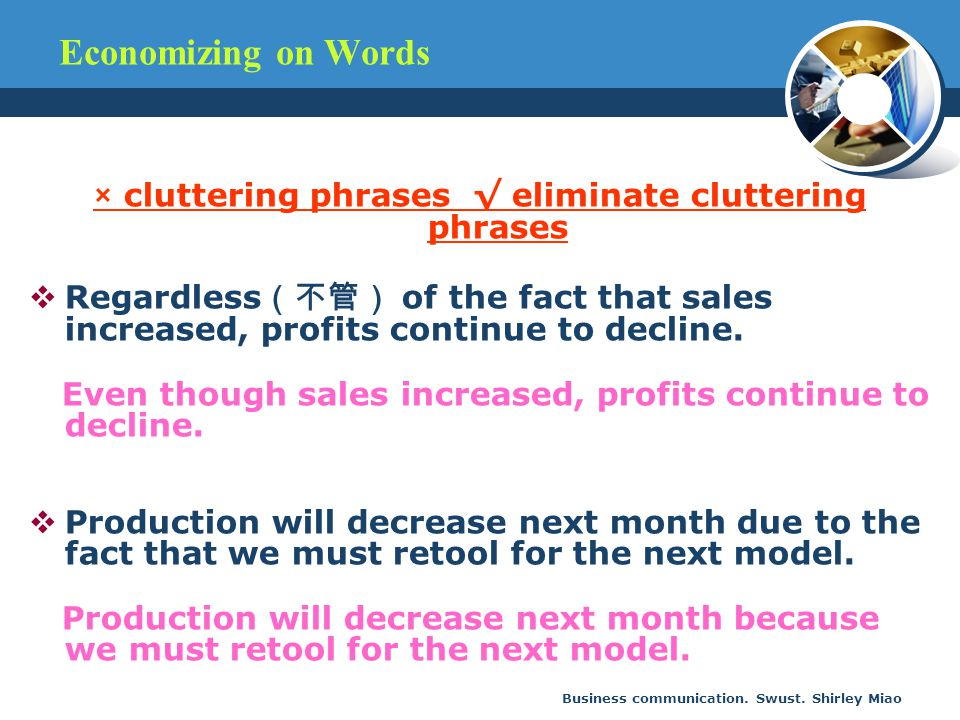 × cluttering phrases √ eliminate cluttering phrases