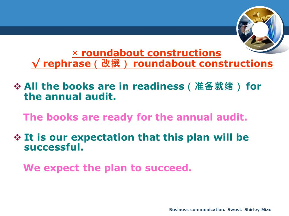 × roundabout constructions √ rephrase(改撰) roundabout constructions