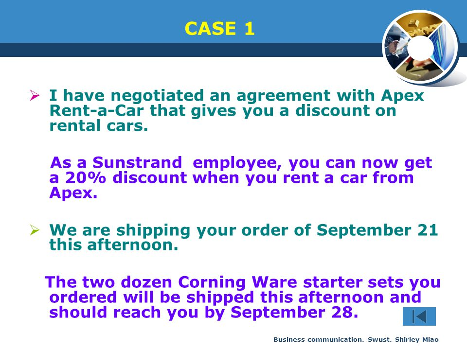 CASE 1 I have negotiated an agreement with Apex Rent-a-Car that gives you a discount on rental cars.