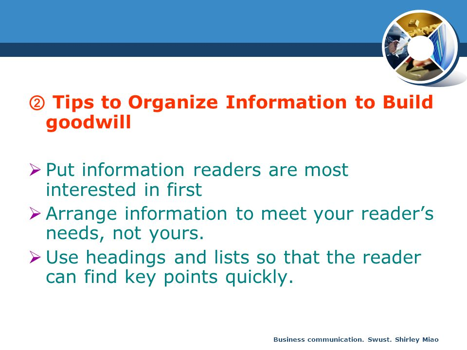 ② Tips to Organize Information to Build goodwill
