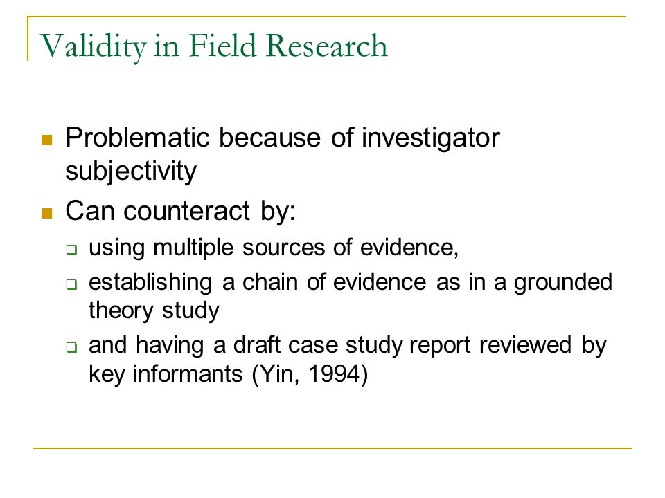 Validity in Field Research