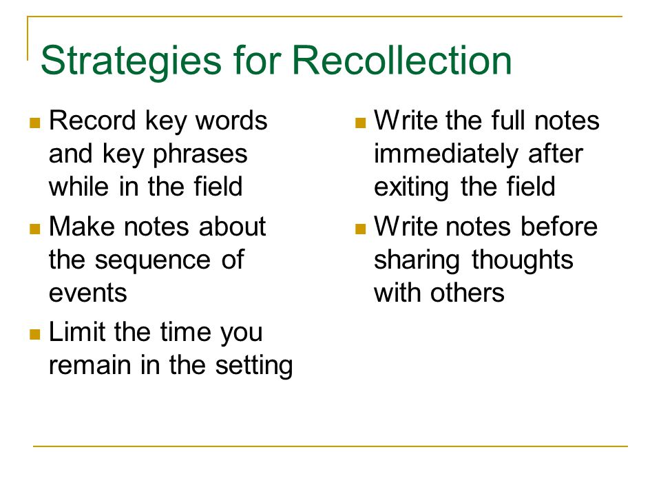 Strategies for Recollection