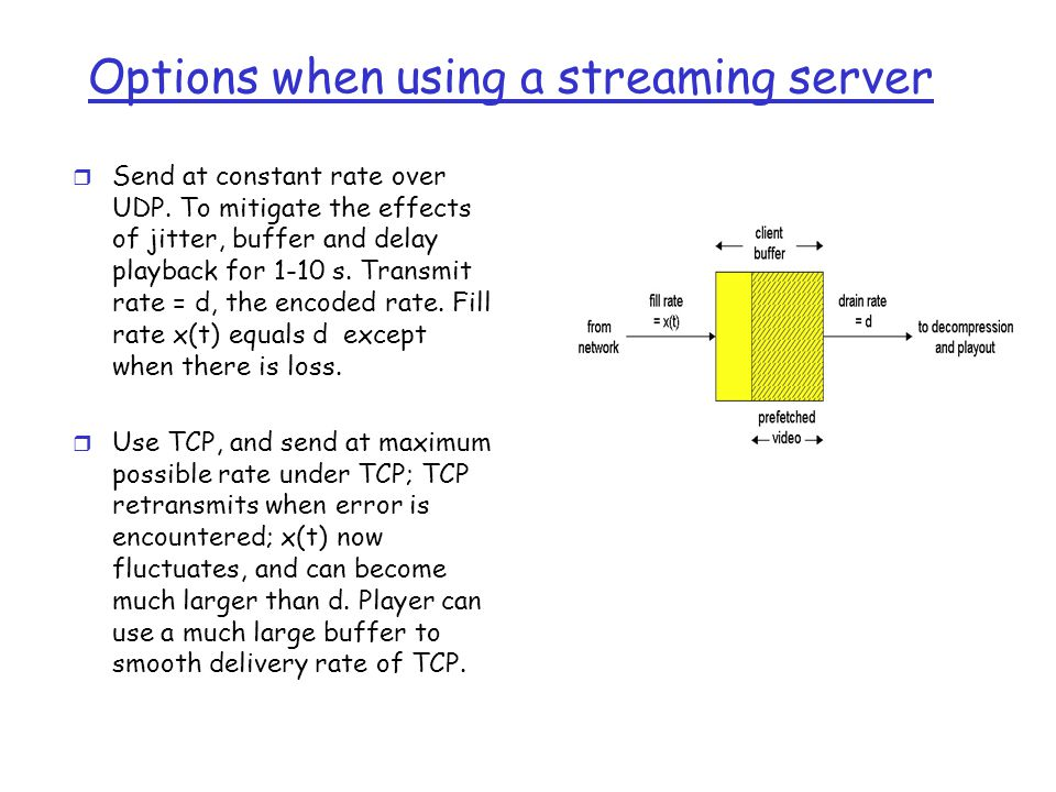 Options when using a streaming server