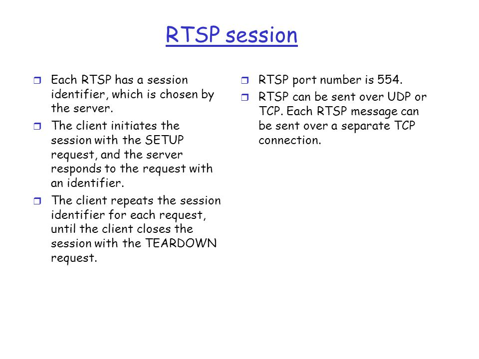 RTSP session Each RTSP has a session identifier, which is chosen by the server.