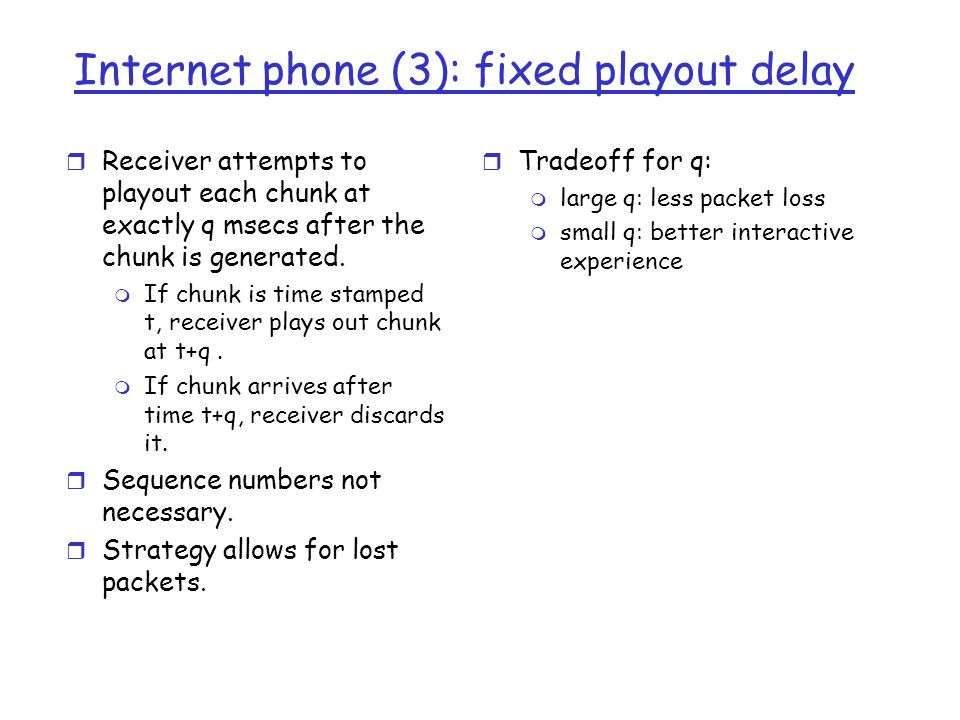 Internet phone (3): fixed playout delay