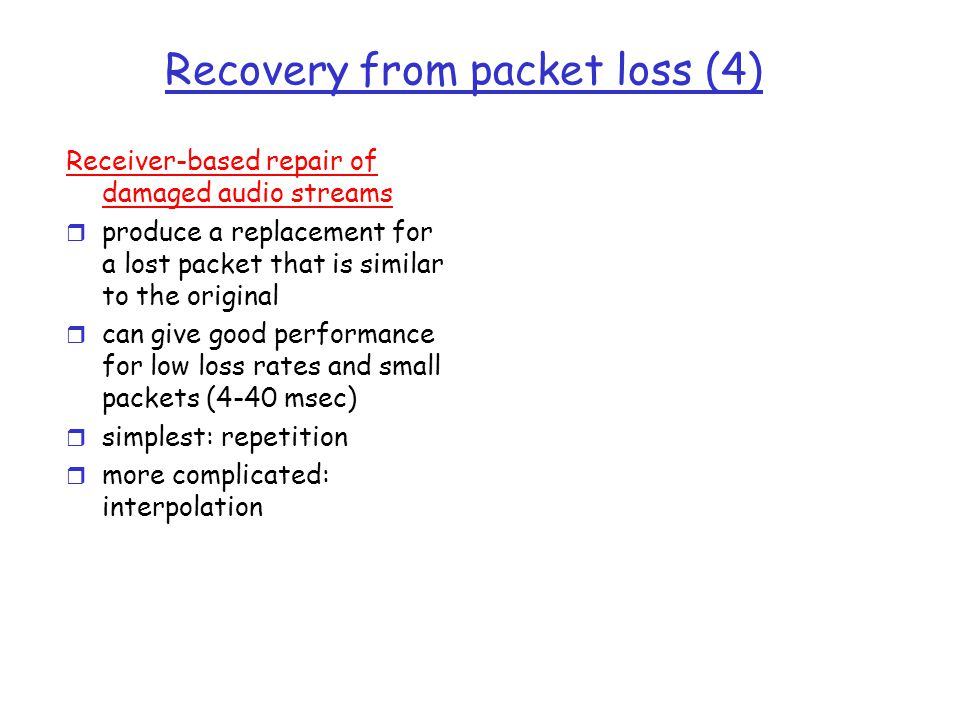 Recovery from packet loss (4)