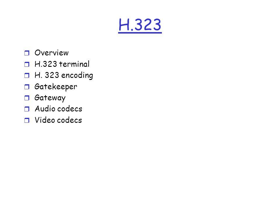 H.323 Overview H.323 terminal H. 323 encoding Gatekeeper Gateway