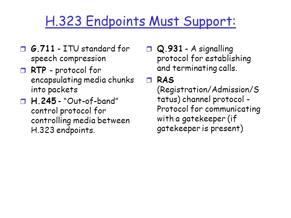 H.323 Endpoints Must Support: