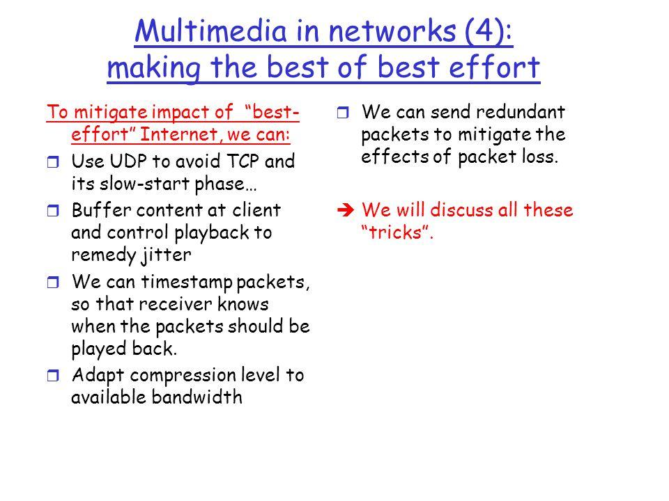 Multimedia in networks (4): making the best of best effort