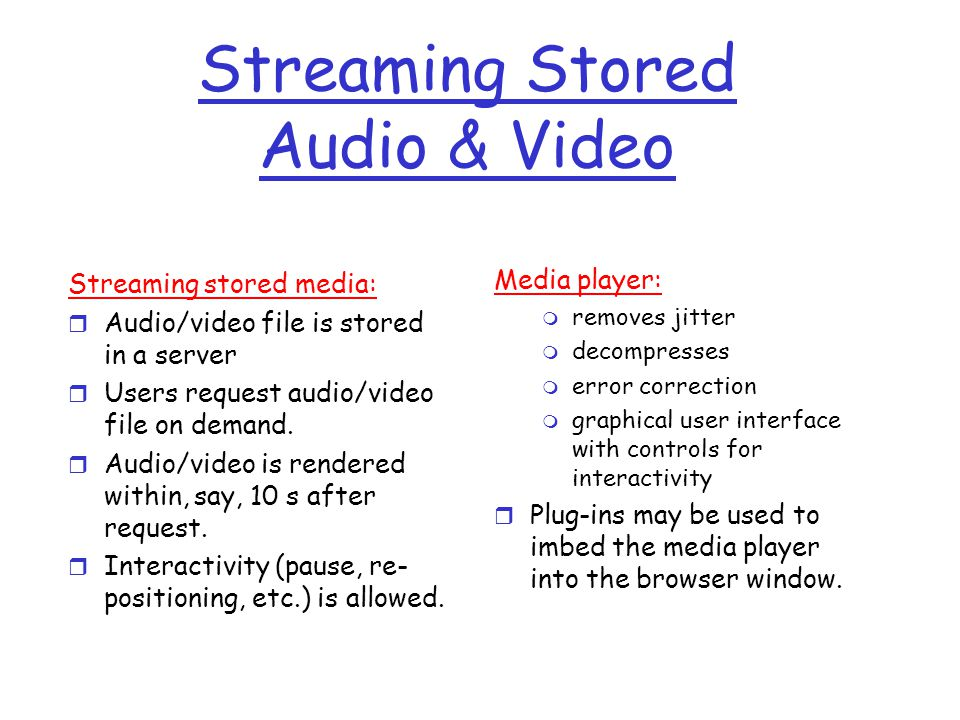 Streaming Stored Audio & Video