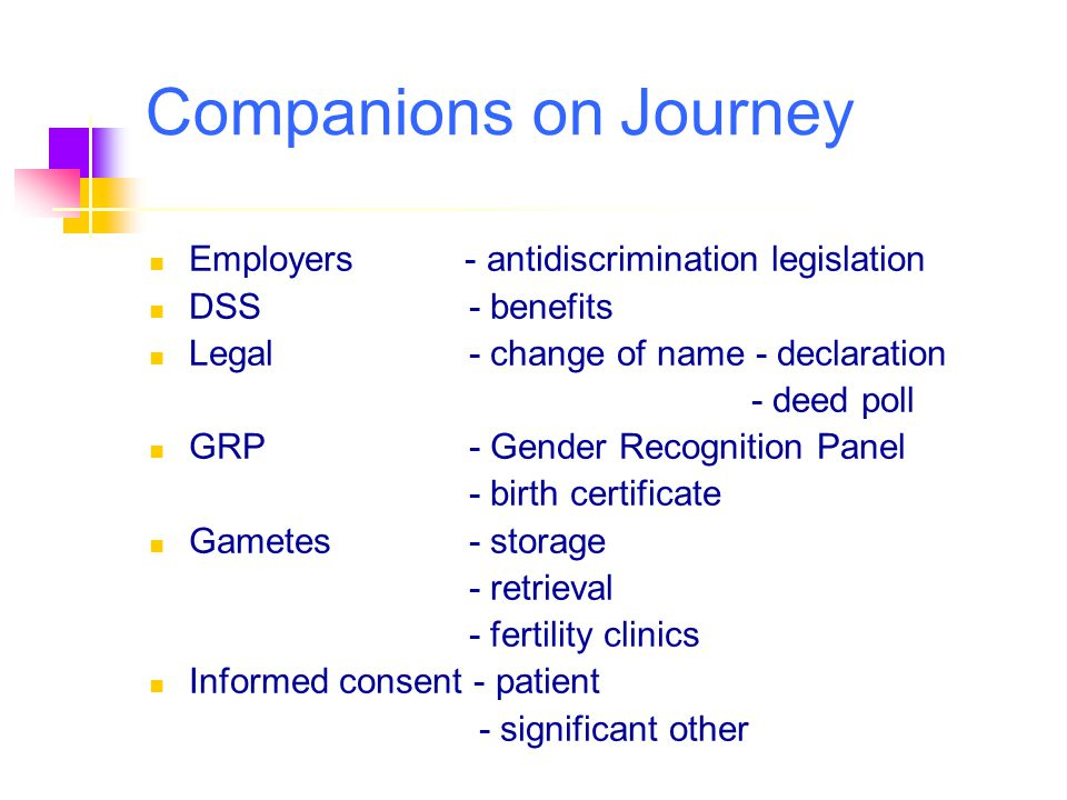Companions on Journey Employers - antidiscrimination legislation
