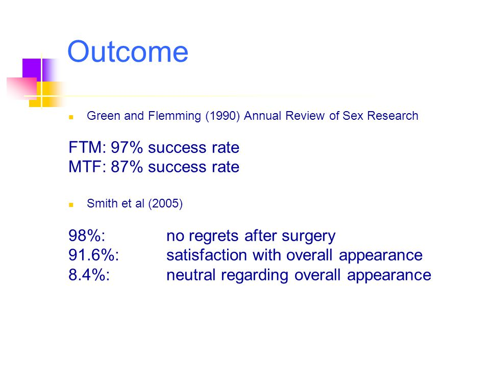 Outcome FTM: 97% success rate MTF: 87% success rate