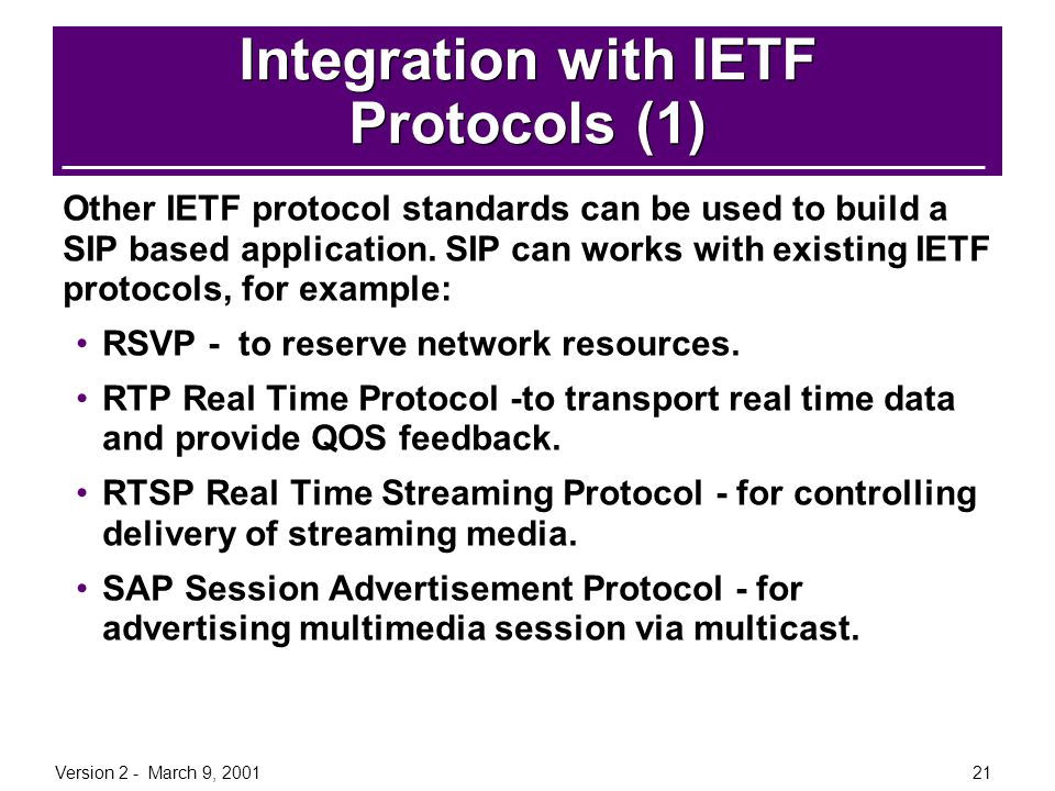 Integration with IETF Protocols (1)
