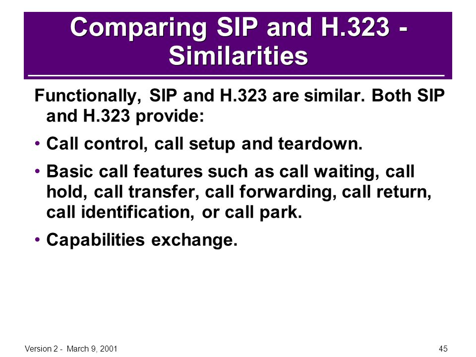 Comparing SIP and H.323 - Similarities