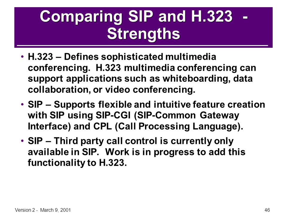 Comparing SIP and H.323 - Strengths