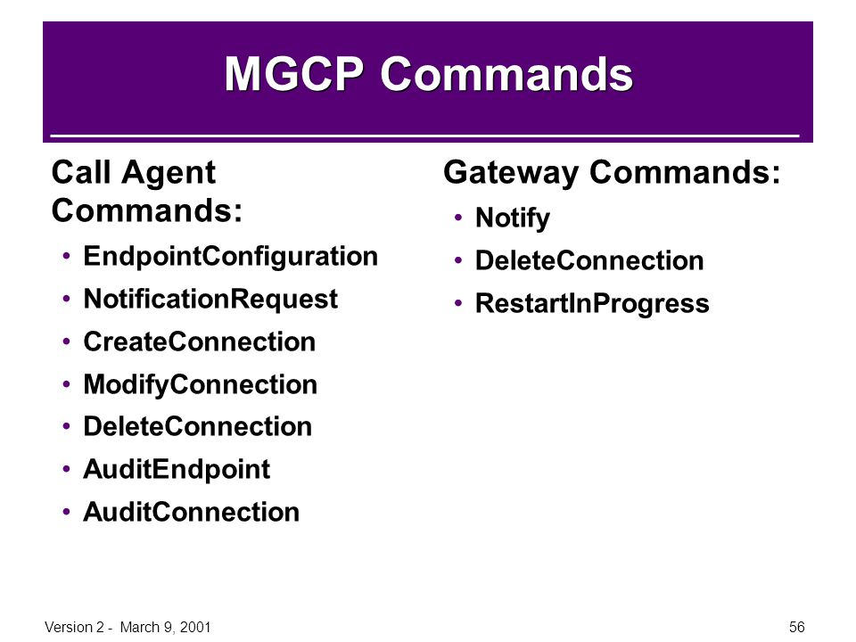 MGCP Commands Call Agent Commands: Gateway Commands: Notify