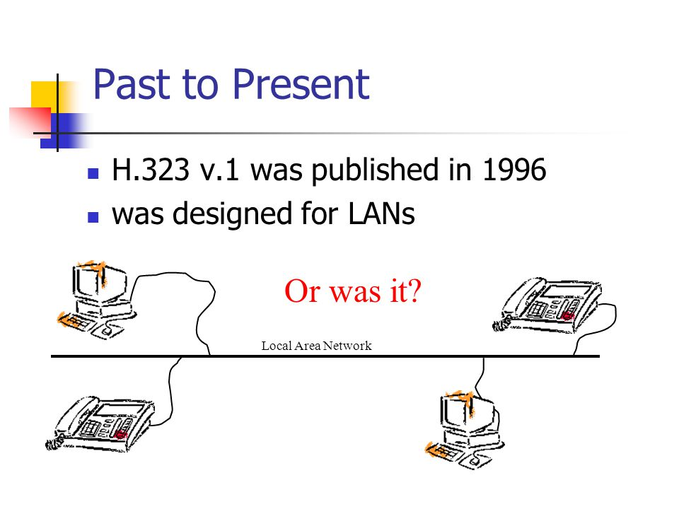 Past to Present Or was it H.323 v.1 was published in 1996