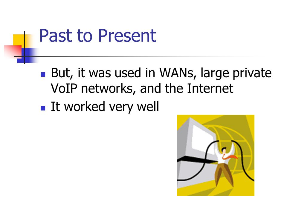 Past to Present But, it was used in WANs, large private VoIP networks, and the Internet. It worked very well.
