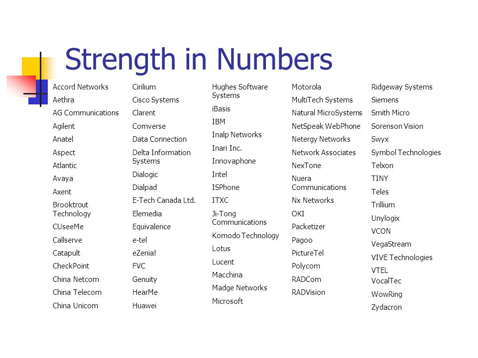 Strength in Numbers Partial Listing Accord Networks Aethra