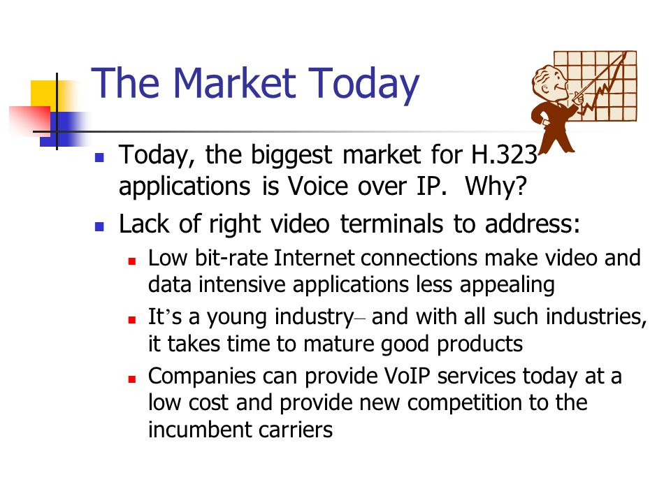 The Market Today Today, the biggest market for H.323 applications is Voice over IP. Why Lack of right video terminals to address: