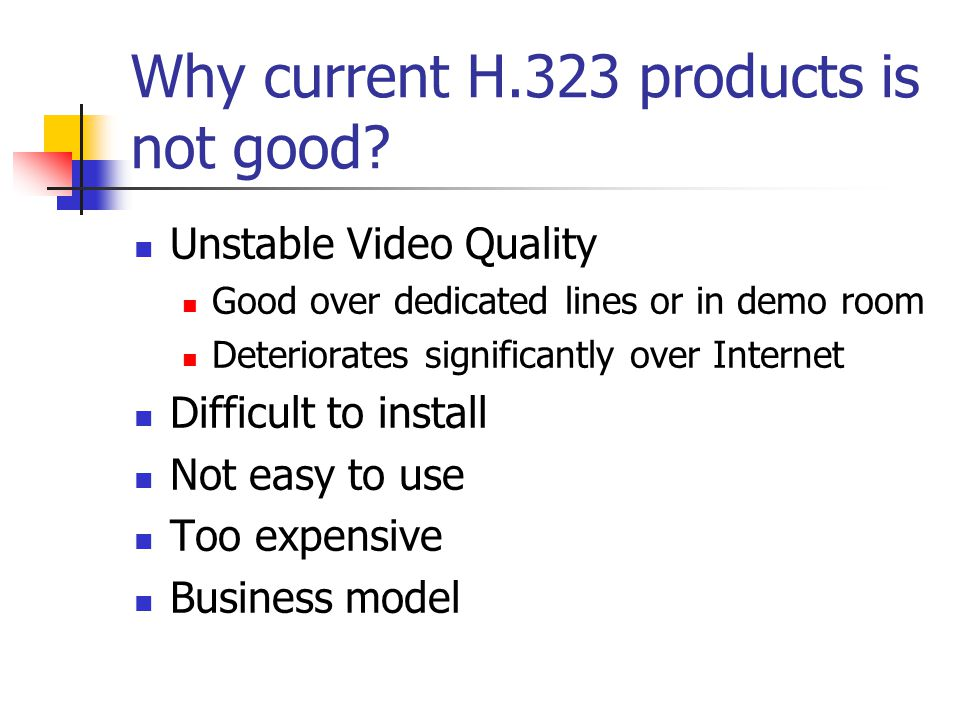 Why current H.323 products is not good