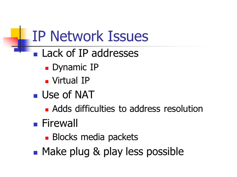 IP Network Issues Lack of IP addresses Use of NAT Firewall