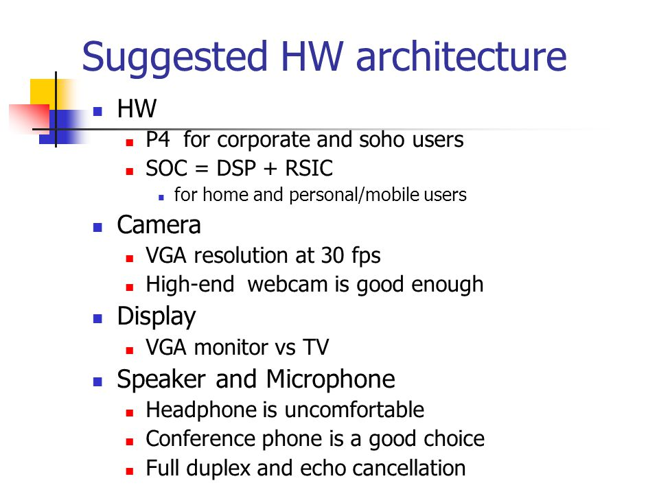 Suggested HW architecture