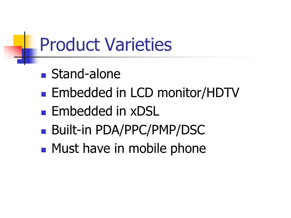 Product Varieties Stand-alone Embedded in LCD monitor/HDTV