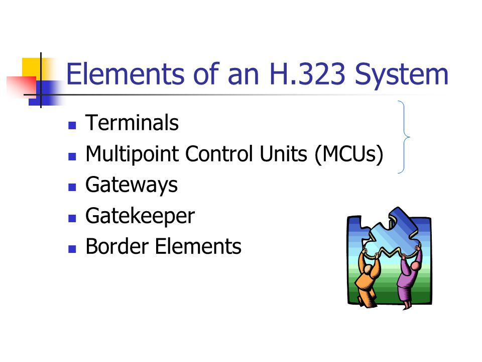 Elements of an H.323 System Terminals Multipoint Control Units (MCUs)