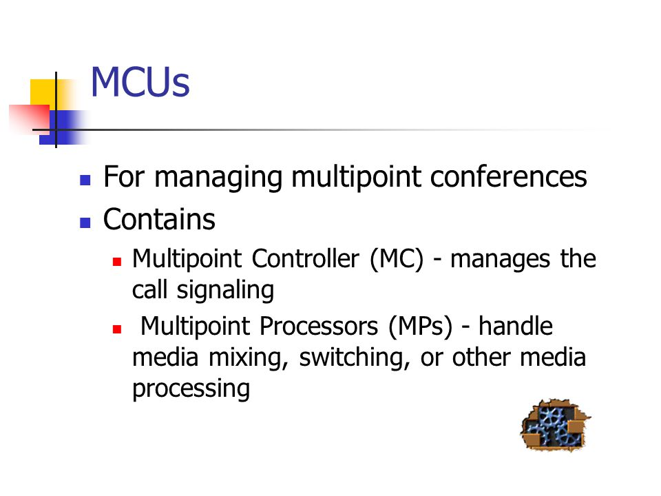 MCUs For managing multipoint conferences Contains
