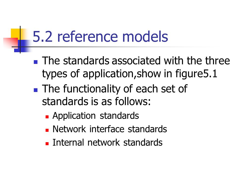 5.2 reference models The standards associated with the three types of application,show in figure5.1.