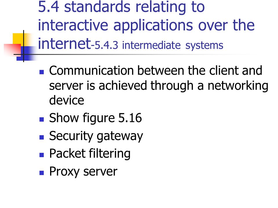 5.4 standards relating to interactive applications over the internet-5.4.3 intermediate systems