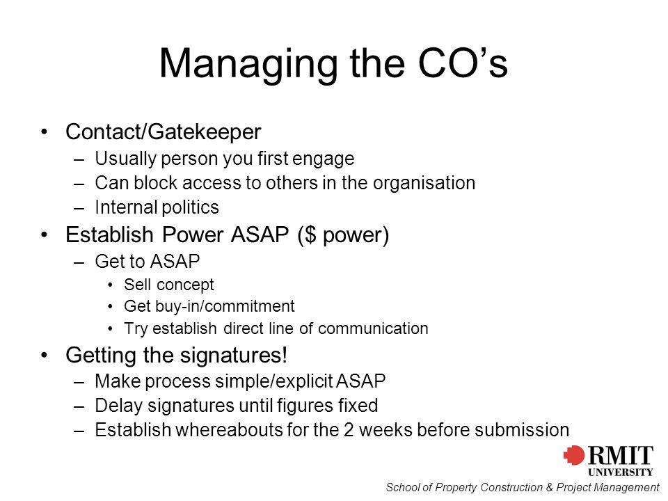 Managing the CO's Contact/Gatekeeper Establish Power ASAP ($ power)