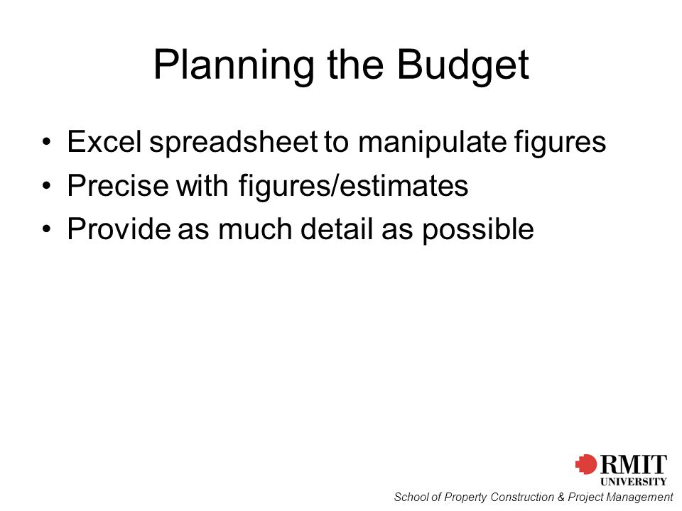 Planning the Budget Excel spreadsheet to manipulate figures