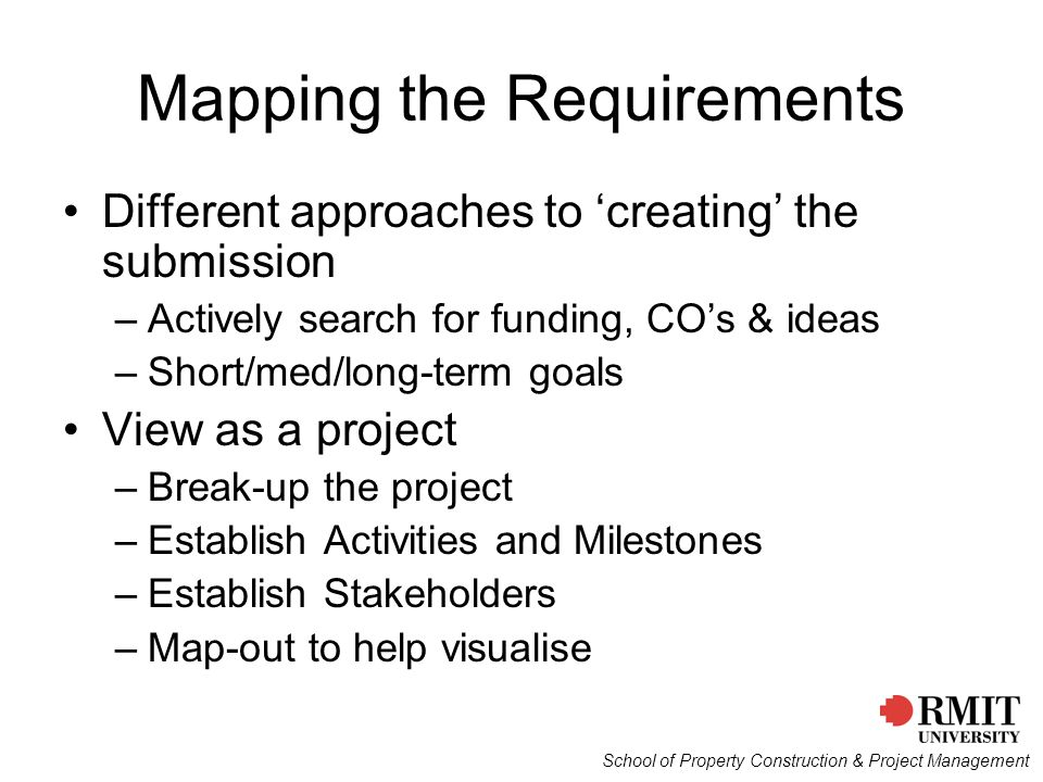 Mapping the Requirements