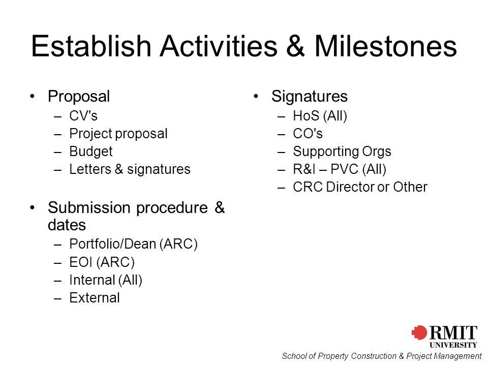Establish Activities & Milestones