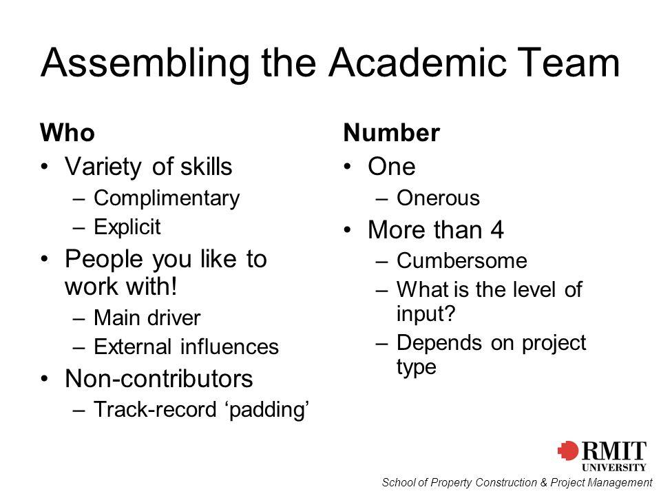 Assembling the Academic Team