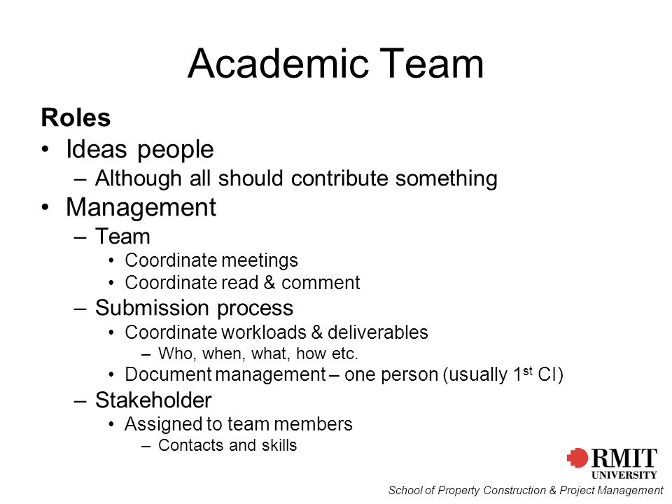 Academic Team Roles Ideas people Management