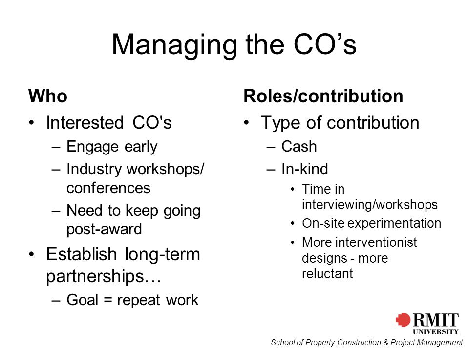 Managing the CO's Who Interested CO s