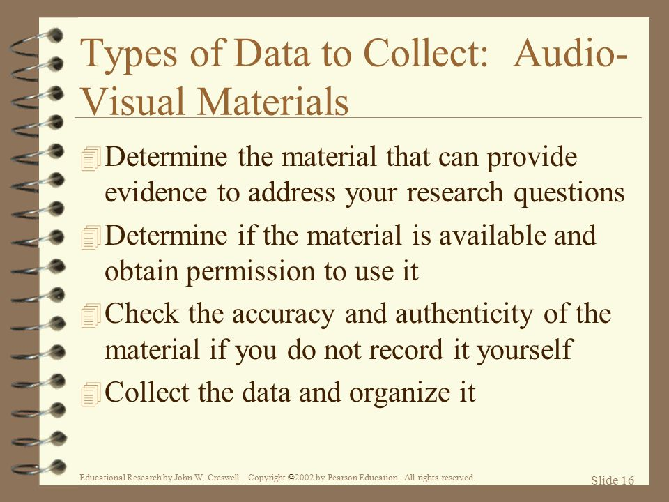 Types of Data to Collect: Audio-Visual Materials