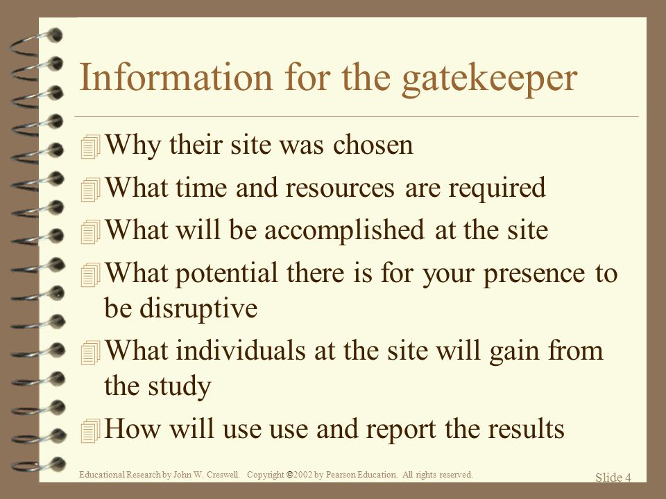 Information for the gatekeeper