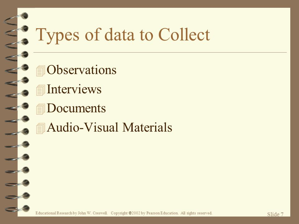Types of data to Collect